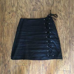 Tobi Lace Up Linen Skirt